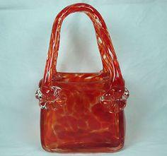 Murano Art Glass Handbag Hand Blown Red Orange Tortoise Shell