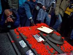 Poppies are laid on the Tomb of the Unknown Soldier on Remembrance Day in Ottawa.
