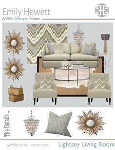love this living room design board (from A Well Dressed Home)