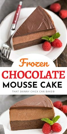Frozen Chocolate Mousse Cake - An exquisite, frozen, swoon-worthy chocolate dessert!  It's the most delicious way to beat the heat, but it's so incredibly delicious,  you'll want to make it all year long! Easy Gluten Free Desserts, Homemade Desserts, Frozen Desserts, Easy Desserts, Delicious Desserts, Frozen Cake, Strawberry Desserts, Delicious Chocolate, Frozen Treats