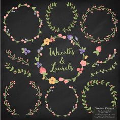 Come grab my August freebie - free floral wreath vectors! Includes 4 wreaths, 3 laurels, 4 branches and a few sweet and simple flowers.