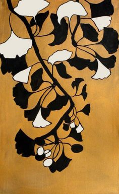 Golden Ginkgo I Hand Painted Art