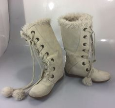 Sporto Paula Cream Suede Faux Fur Trim Boots Women 7.5M Lace Up  #Sporto #KneeHighBoots #Casual