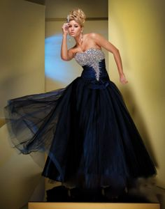 Taffeta Ball Gown Strapless Softly Curved Neckline Beaded Bust Prom Dress