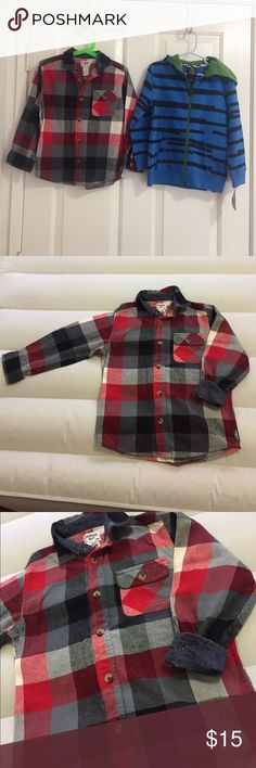 Bundle of 2: plaid button down shirt and hoodie Bundle of 2: red and gray Osh Kosh plaid button down long sleeve top in size 5 and Shaun White royal blue stylish hoodie in size 5T. New with tags and in excellent condition. Osh Kosh Shirts & Tops Sweatshirts & Hoodies