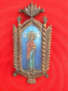 Vintage Collectible Hand-carved Hand-Paint Wooden Icon Virgin Mary