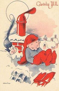 Frederik Vilhelm Bramming (1911 - 1991) 3d Christmas, Christmas Cards, New Year Postcard, Merry Happy, Elves, Danish, Scandinavian, Decoupage, 8 Bit