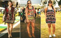 Impossível não reparar nos vestidos e macacões estampados! Com sapatilhas, botas ou tênis, eles foram destaques importantes na moda do festival