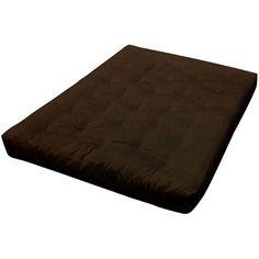 "8"" Cotton Futon Mattress Size: Twin XL, Upholstery: Dark Brown - https://delanico.com/futons/8-cotton-futon-mattress-size-twin-xl-upholstery-dark-brown-734442545/"