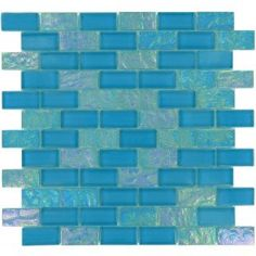 "Breeze 7/8"" X 1 7/8"" Blue Glossy & Iridescent Glass Tile Blue 1'' x 2'' Glass Glossy & Iridescent Tile"