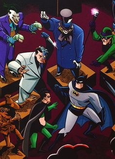 Batman and Robin vs Joker, Two-Face, Riddler, and Mad-Hatter Batman Art, Batman And Superman, Batman Robin, Robin Comics, Batman Stuff, Bruce Timm, Nightwing, Batgirl, Gotham Villains