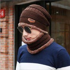 wholesal knit scarf cap neck warmer Winter Hats For Men women warm Outdoor Sport Baggy Beanies Fleece Knit Bonnet Hat