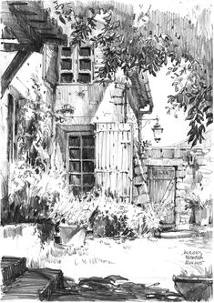 Sketch Face Pencil drawing of the architecture of french country - France 2015 - Aurons - sketch by Magdalena Kusowska (Poland). City Drawing, Drawing Sketches, Painting & Drawing, Zoo Drawing, House Drawing, Pencil Sketches Landscape, Landscape Drawings, Drawing Landscapes Pencil, Pencil Drawings Of Nature