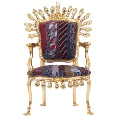 One of a Kind Pedro Friedeberg Hands and Ties Chair Gold Leaf | 1stdibs.com