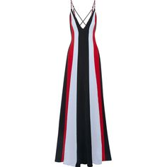 Gabriela Hearst Somerset striped silk crepe gown (£1,610) ❤ liked on Polyvore featuring dresses, gowns, gown, midnight blue dress, graphic dress, criss-cross dresses, graphic print dress and v neck evening dress