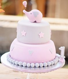 Elephant Cake First Birthday Party  Pink and grey cake