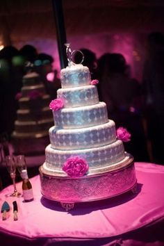 Hot Pink And Silver Wedding Cakes
