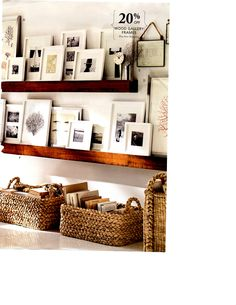 picture frames on a ledge