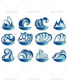 Set Of Wave Symbols By Ksyxa Water Icons