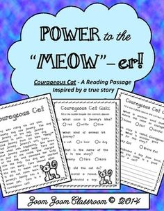 Free! Inspired by real events. This reading passage is about a cat that helps a small child. There is a quiz about the passage provided which includes a writing prompt at the end of the quiz.