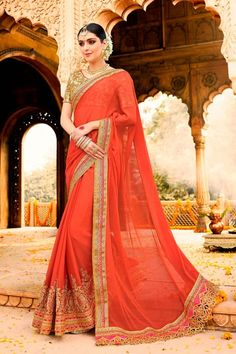 Shop stylish orange net saree with u neck blouse now in shop. Andaaz Fashion brings latest designer ethnic wear collection in MY