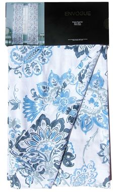 ENVOGUE Navy Blue Jacobean Floral Window Curtain Panels 50-by-96-inch PAIR NEW #Envogue #Contemporary