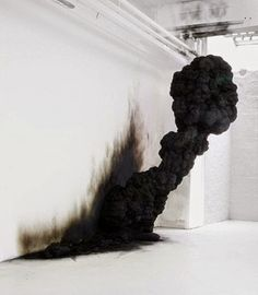 "Olaf Brzeski ""Spontaneous Combustion"" 2009 (resin, soot installation)"