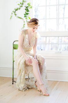 Elegant gold wedding garter-by The Garter Girl