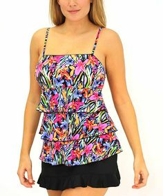 Love this Red Brush Stroke Fit 4 Ur Tummy Skirted Tankini - Women by Fit 4 U on #zulily! #zulilyfinds