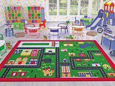 Ottomanson Jenny Collection Red Frame with Multi Colors Kids Children's Educational Alphabet Design (Non-Slip) Area Rug, X Multicolor Yellow Area Rugs, Orange Area Rug, Navy Blue Area Rug, Beige Area Rugs, Kids Area Rugs, Dynamic Rugs, Alphabet For Kids, Alphabet Design, Cool Rugs