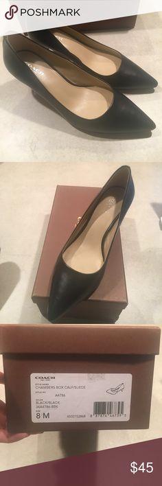 Black 2.5 inch heels Coach 2.5 inch black leather heels Coach Shoes Heels