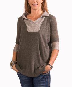 Look at this #zulilyfind! Gray Collar Three-Quarter Sleeve Top by Avatar Imports #zulilyfinds