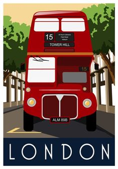 The post LONDON BUS. Travel poster of London Red Routemaster Bus. Retro Art print appeared first on Trendy. London Bus, London City, London Wall, Travel Ads, Bus Travel, London Transport, London Travel, Portsmouth, London Poster