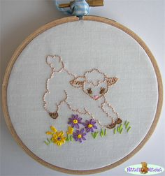 Jumping Lamb Hoop Art, Hand Embroidered Wall Art | Nittens and Patches | madeit.com.au