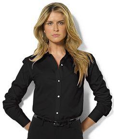 610e7016a Black Button Down Blouse: Lauren Ralph Lauren Long Sleeve Poplin Shirt