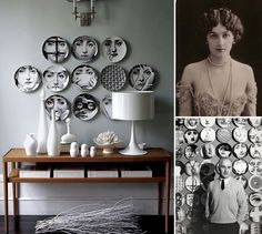 DESIGN ICON /FORNASETTI You've seen it and you probably wondered who this enigmatic lady was. Her expression and the perfect oval of her face inspired infinite variations to the main theme (tiles, plates, pillows, ceramics, wallpaper). Her name was Lina Cavalieri (1874-1944), an Italian soprano, famous for her grace and beauty. And the artist who gave immortality to this almost sad gaze was Piero Fornasetti. He chose her as his muse.