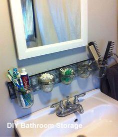 Mason Jar Bathroom Organizer House Bathroom Organisation Home Small Bathroom Storage, Bathroom Organisation, Home Organization, Organizing Ideas, Small Storage, Creative Storage, Diy Storage For Small Spaces, Small Space Organization, Mason Jar Bathroom