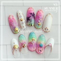 Make an original manicure for Valentine's Day - My Nails Acrylic Nail Designs, Nail Art Designs, Acrylic Nails, Nails Ideias, Sea Nails, Vacation Nails, Mermaid Nails, Japanese Nails, Dope Nails