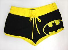 DC Comics Batman Logo Black / Yellow Women's Juniors Drawstring Booty Shorts #Batman #MiniShortShorts