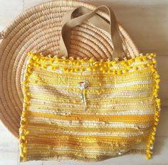 Boho Cotton Bag, Yellow Shoulder Bag, Kourelou Bag, Summer Bag, Gift for Mom. Yellow Shoulder Bags, Gypsy Bag, Diy Handbag, Hippie Bags, Fabric Bags, Bead Crochet, Knitted Bags, Cotton Bag, Cloth Bags
