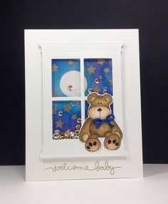 Clearly Besotted: Cute and Cuddly, window die: poppystamps, shaker card by beesmom at splitcoast