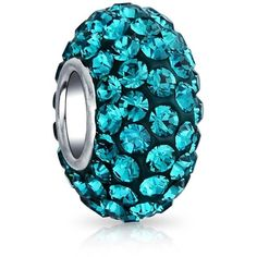 Bling Jewelry Bling Jewelry 925 Sterling Silver Teal Blue Crystal Bead... ($13) ❤ liked on Polyvore featuring jewelry, pendants, blue, blue jewelry, sterling silver jewelry, beading jewelry, blue charm and charm jewelry