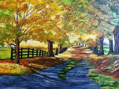 Elizabeth Kunsting Camino otoñal óleo sobre tela de 70x50 cms (original)
