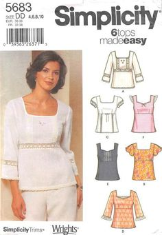 SIMPLICITY 5683 - FROM 2003 - UNCUT - MISSES PULLOVER TOPS