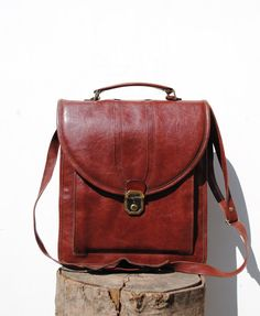 Mens leather bag, leather mens bag, maroon leather shoulder bag, brown mens leather bag