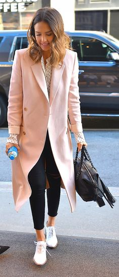 Jessica Alba stuns in a blush coat, skinnies, and oxfords.