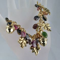 Autumn Gold - Acorns and Leaves Charm Bracelet by me #Rose of Sharon Jewelry $135