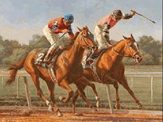 Affirmed and Alydar in the 1978 Belmont Stakes by Fred Stone; Affirmed becomes the 11th (and so far last) Triple Crown winner.
