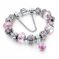 925 Silver Crystal Charm Bracelets Purple Austrian Crystal Beads - Wanelo Gift Ideas