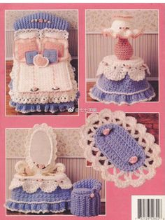 Crochet Toy Barbie Clothes Sweetheart Bedroom Vol III, Annie's Attic Fashion Doll Furniture Crochet Pattern Booklet - Annie's Attic 'Sweetheart Bedroom Vol III' Crochet Pattern Booklet Crochet Crafts, Crochet Dolls, Crochet Baby, Crochet Pillow, Crochet Furniture, Häkelanleitung Baby, Accessoires Barbie, Crochet Barbie Clothes, Doll Home